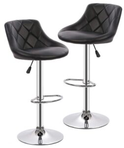 black fabric bar stools