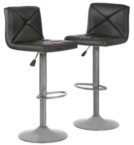 Black metal bar stools with backs
