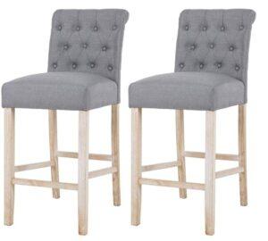 gray upholstered bar stools