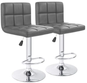 Gray Leather Bar Stools