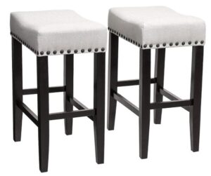white fabric bar stools