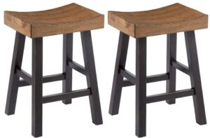 wooden saddle bar stools