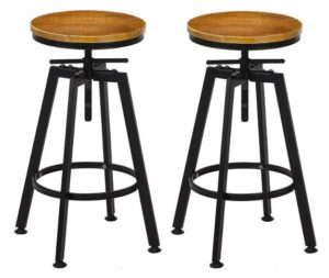Industrial Wood Bar Stools