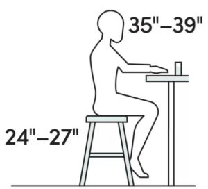 size of counter height