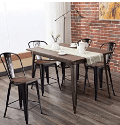 wooden high back bar stools