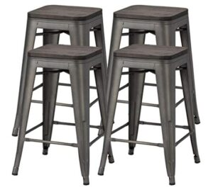 24 inch black backless bar stools