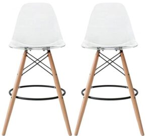 modern wooden and acrylic bar stool