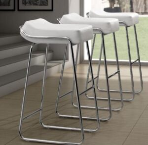 using adjustable backless bar stools