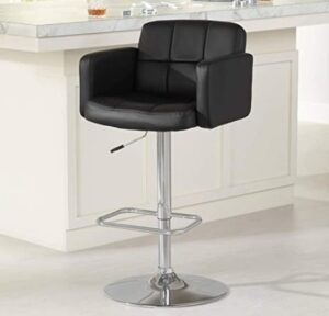 leatherette adjustable bar stool with arm