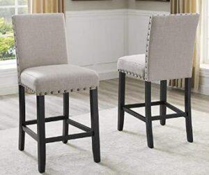 fabric bar stool with nailhead