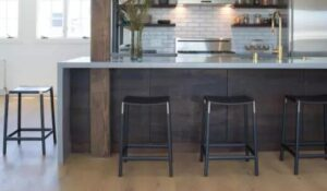 black wooden counter height bar stools