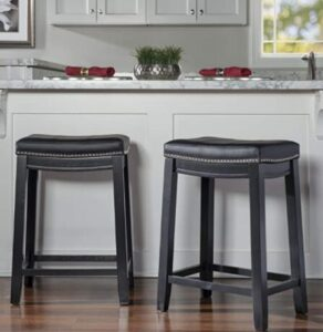 black wooden leather stools
