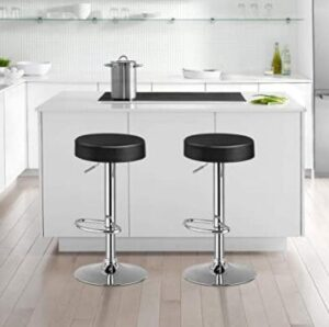 round black leather bar stools