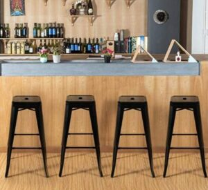 black metal stools for kitchen
