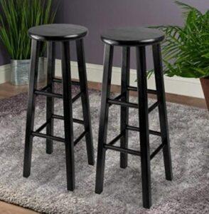 black wooden bar stools