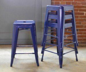 blue metal stools