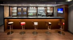 how far apart should commercial bar stools be
