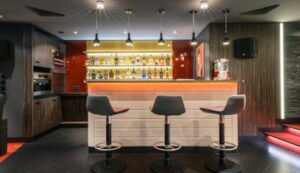 how to space commercial bar stools