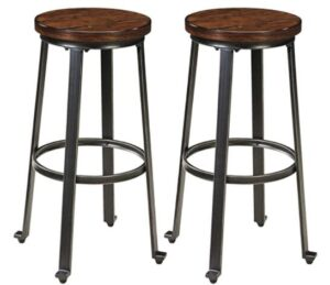 metal and wooden bar stools