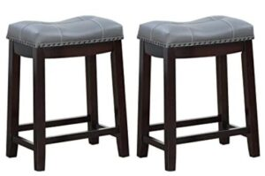 grey leather bar stools