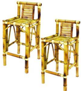 mid back bamboo bar stools