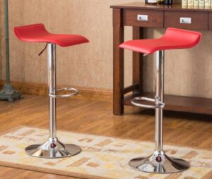 red swivel backless bar stools
