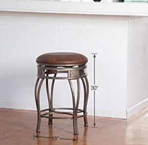 brown leather backless bar stools