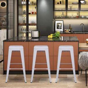 white metal bar stools