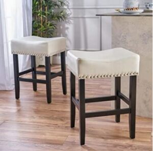 backless leather bar stools