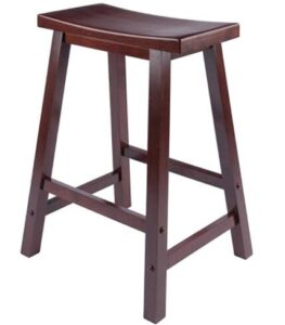 red wooden bar stools