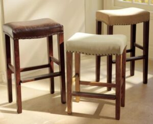 white leather backless bar stools