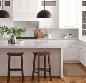 backless brown wooden stools