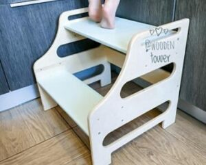 2-step wooden step stools