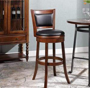 brown wooden swivel bar stools