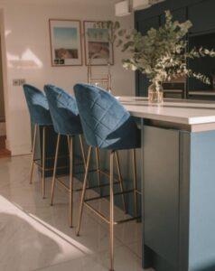 bright blue bar stools