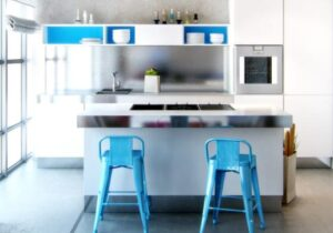 counter height bar stools blue