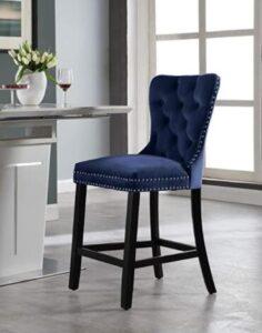blue wooden bar stools