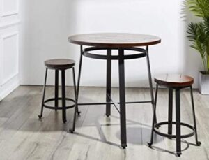 metal and wooden round brown bar stools