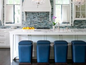 light blue metal bar stools