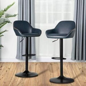 adjustable blue bar stools with arms