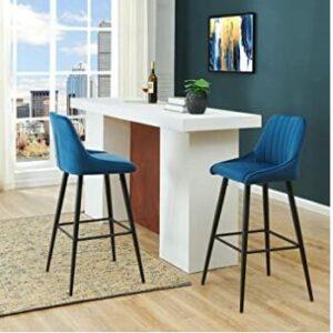 short back blue bar stools