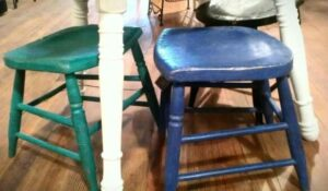 how to turn a broken stool into saddle seat stools
