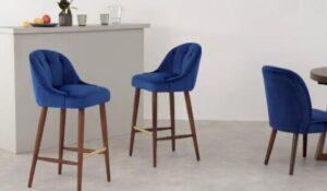 blue bar stools kitchen