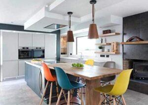 bright yellor color bar stools
