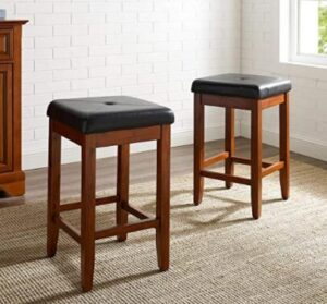 classic wooden padded bar stools