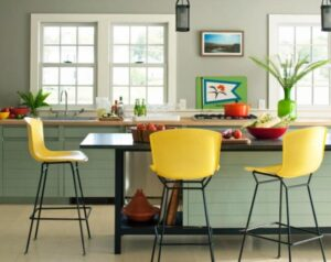 yellow bar stools for kitchen